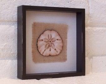 Sand Dollar Shadow Box, Wood Burn, Beach Decor, Coastal, Seashell, Burlap, Beach House, Home Decor, Gift