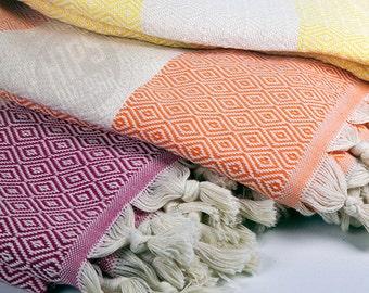 Diamond Peshtemal - Turkish Towel, Beach Towel, SPA Towel, Turkish Peshtemal
