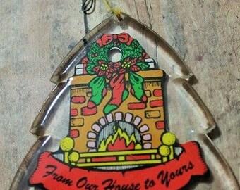 Vintage Christmas ornament-Christmas gift ornament-hard plastic christmas tree-house warming gift-Holiday decor