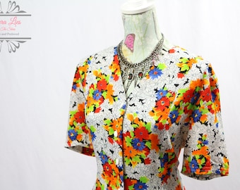 Vintage Multicoloured Button Through Dress Size L