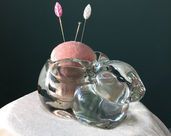 Glass Bunny Pincushion with Pink Velvet