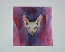 Geometric Cat - Acrylic, Pencil, Mixed Media - Handmade, 25x25 centimeters