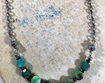 """Moss Green Opal Gemstone 17"""" Necklace/Hematite Bead Accents/Oval Antique Silver Chain/Boho Jewelry/Dainty Necklace"""