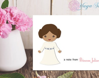 Princess Leia Thank You Cards / Custom Star Wars Stationery / Personalized Star Wars Stationery Set / Custom Girl Stationery / Set of 12