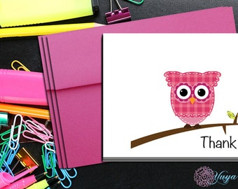 Personalized  Pink Owl Thank You Card / Cute Owl Stationery / Custom Owl Stationery Set / Custom Owl notes/ Set of 12 note cards