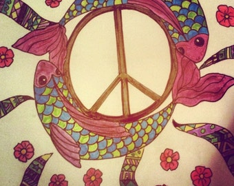 Framed Peace Sign With Fish