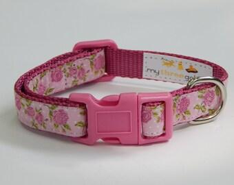 Rose Dog Collar, Rose Bud Dog Collar, Pink Dog Collar, Girl Dog Collar, Adjustable Dog Collar
