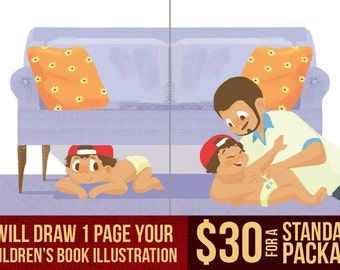 Draw 1 or more pages children's book illustration for your book - made to order