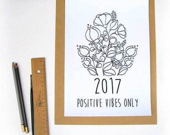 2017 Calendar, 2017 Wall Calendar, Wall Calendar 2017, Inspirational Quote Calendar, Gifts for Mom, Positive Vibes Only, Best Friend Gift