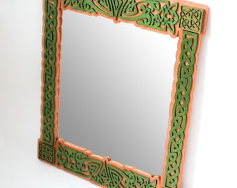 Celtic wooden wall mirror