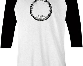 Philadelphia Skyline Baseball Tee - Black Ink Art Design Shirt - Philly Graphic Design Tshirt by Local Artist - 1002