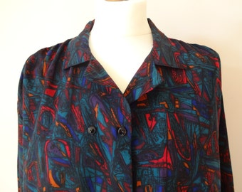 Abstract Pattern Vintage Shirt | Long Sleeved Vintage Blouse | 1980s Blouse | Double Breasted Swing Shirt Blouse | Size M-L