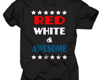 USA Patriotic T-shirt Red White Awesome American Flag T-shirt 4th Of July T-shirt