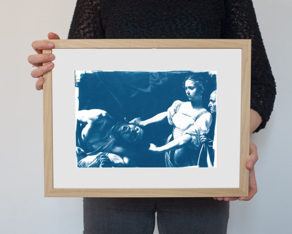 Caravaggio Painting , Judith Beheading Holofernes, Cyanotype Print on Watercolor Paper, A4 size