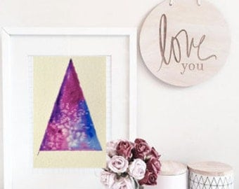 Geometric painting, Abstract watercolour painting, watercolor triangle, ORIGINAL watercolour painting, simple art, triangle art, shapes