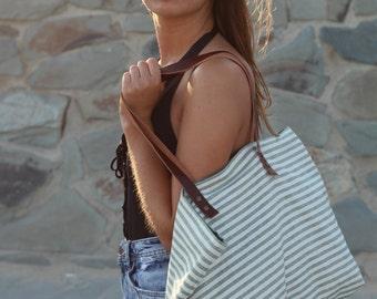 Summer tote Bag, beach tote bag, travel tote, green lines bag, leather handles bag, canvas bag, lagut, Beach striped bag, woman tote bag