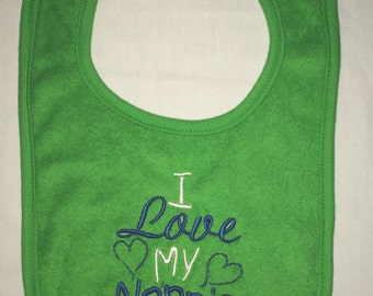 I love my Nonnie custom embroidered bib