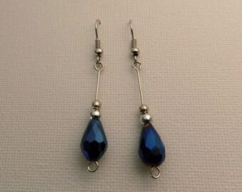 Silver & Blue Raindrop Earrings