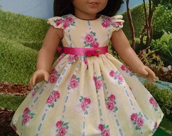 For American Girl Dolls and Other 18 inch dolls! Romantic Ribbon and Floral Print Dress!