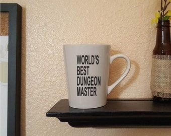 World's best dungeon master coffee mug, Dungeons and Dragons, funny, geek, gifts for her, gifts for him