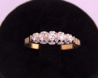 Beautifull 5 Stone Ring Brilliant beautiful Platinum and diamond 18 k gold old headband