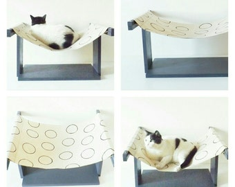 Hammock for cats _ anthracite grey with black polka dots