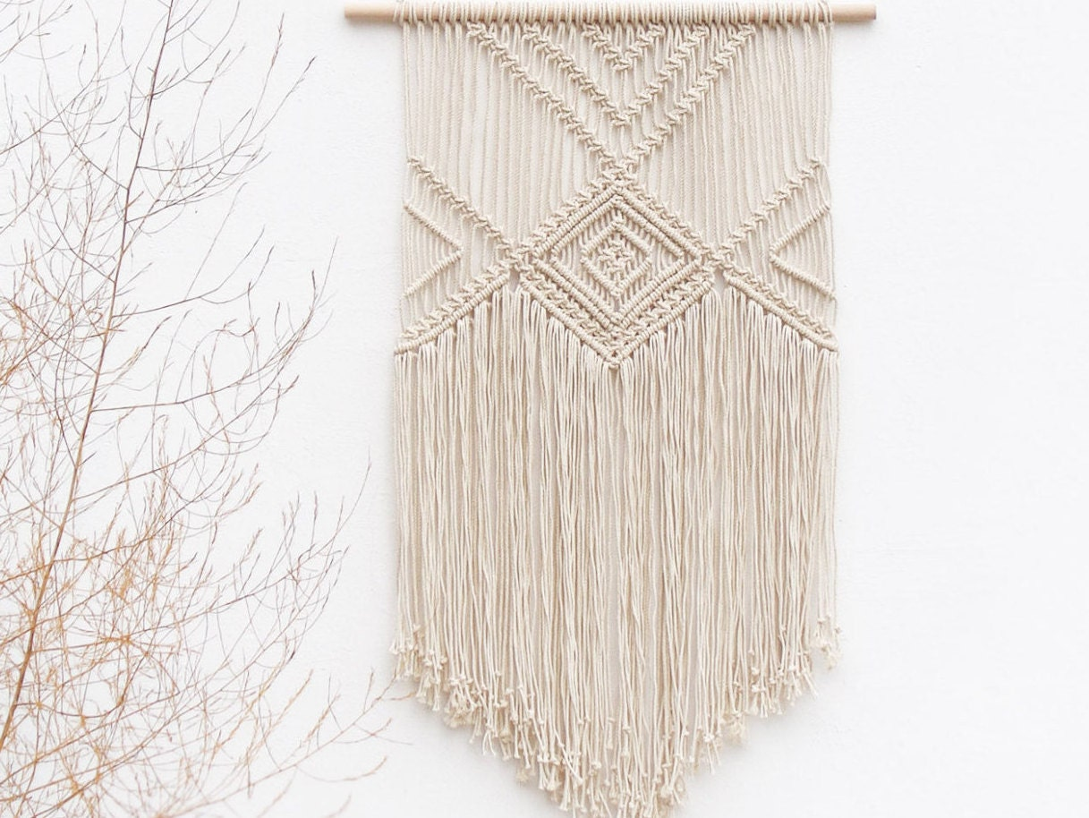 Woven Leaves Wall Decor : Macrame wall hanging natural decor woven by moxmacrame