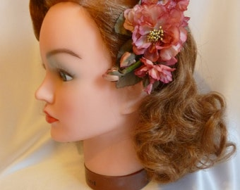 Muted pinks vintage hair flower, 1940s, 1950s, aunthentic vintage, silk hair flower