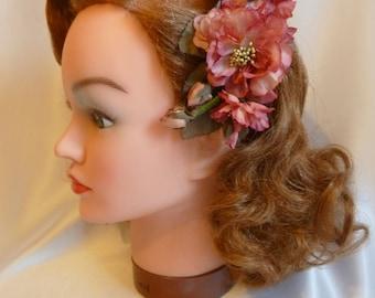 Muted pinks vintage hair flower, 1940s, 1950s, aunthentic vintage, silk hair flower