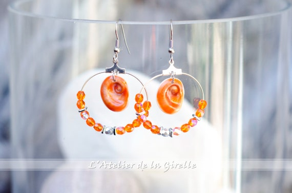 Creole SARRAN Orange - Earring hoops creole with Eye of Santa Lucia and glass faceted round beads