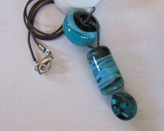Shades of Turquoise Lampwork Glass Bead Necklace, Turquoise Lampwork Pendant, Turquoise Artisan Lampwork Necklace