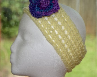 Hand-knit lacy flower headband