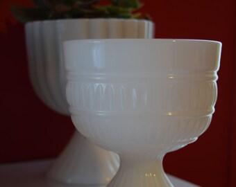 Vintage Milk Glass Goblet on Pedestal Planter