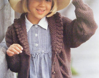 Girls Aran Cardigan PDF Knitting Pattern : Childrens 24, 26, 28 and 30 inch chest . 61, 66, 71 and 76 cm . Instant Digital Download