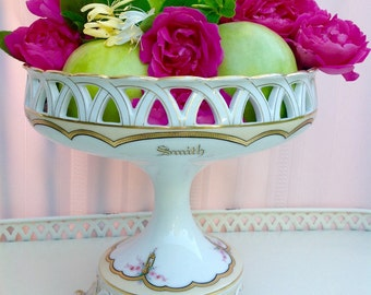 Vintage French Porcelain Old Paris Centerpiece Reticulated Compote Fruit Bowl / Wedding Centerpiece / Table Decor