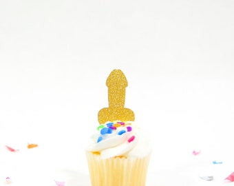 Bachelorette Penis Cupcake Toppers Set of 12 - Bachelorette Penis Decorations - Penis Party Supplies - Glitter Penis Cupcake Toppers