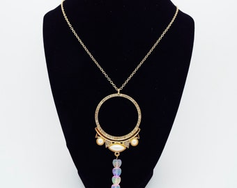 Gold Gemmed Circle Heart Necklace