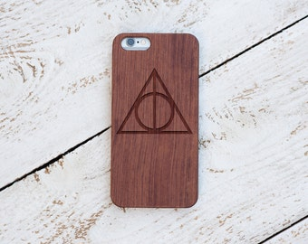 Harry Potter, Wood Case, Deathly Hallows Sign, iPhone 7, 7 Plus, 6s, 6 6 Plus, 5s, 5, SE, Samsung Galaxy S7, S6, Note 7 Laser Engraved #4041