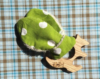 Wooden Teething Toy. Australian Grown Timber, Handmade Kangaroo Shape. Personalised Engraving Included.