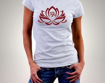 "om t shirt -""lotus flower om"" design - organic t shirt - women shirt - yoga t shirt -lotus flower shirt - tshirt women - lotus tshirt - om"