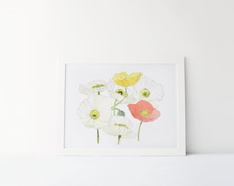 Watercolor poppies, poppy print, modern wall art, 8x10