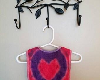 Red and Purple Heart Bib