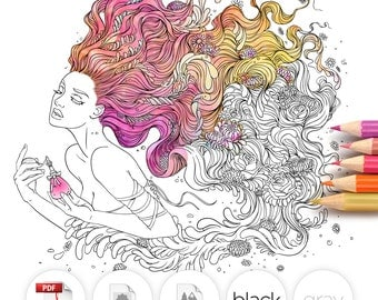 Adult Coloring Page Fantasy Perfume Line Art