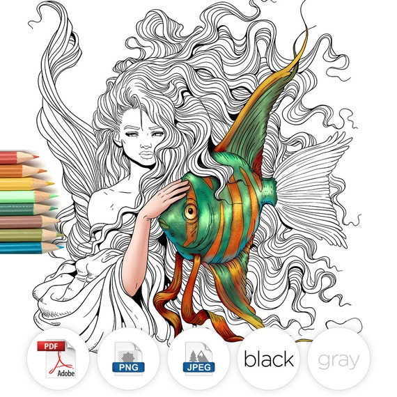 Adult Coloring Page Fantasy Mermaid and Fish Line Art