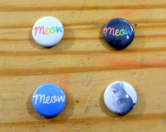 Cat Themed Pinback Buttons (Set B)
