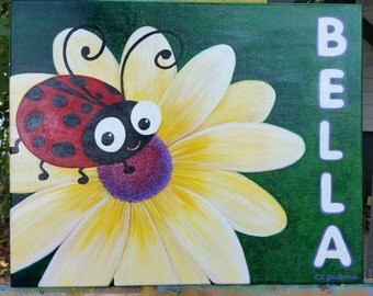 """Custom Hand Painted 16 x 20 stretched canvas """"Bella"""""""