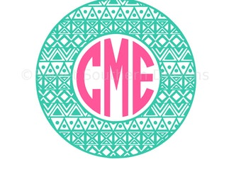 Aztec pattern circle monogram frame SVG DXF instant download design for circuit or silhouette