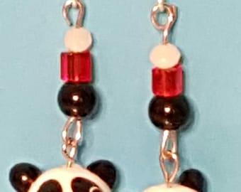 Adorable panda bear hypoallergenic drop earrings