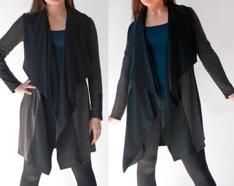 Jacket / Striking Lightweight Charcoal Knit & Tencel Jacket / Shawl Collar / Modern Sophisticated Flattering Fun Jacket / Tristam Charcoal