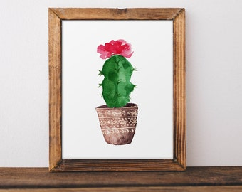 Cactus Wall Art, Botanical Print, Tropical Wall Art, Cactus Poster, Watercolor Cactus Art, Cactus Wall Decor, Nursery Decor, Kidds Room Art